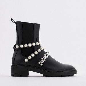 ZARA PEARL STRAP LOW HEELED LEATHER ANKLE BOOTS